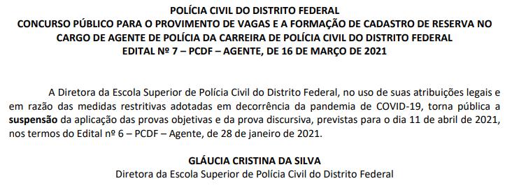 Comunicado de Suspensão Concurso PCDF Agente