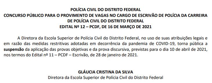 Comunicado de Suspensão Concurso PCDF Escrivão