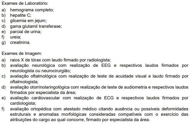 Exame de Higidez Física do concurso PC PR