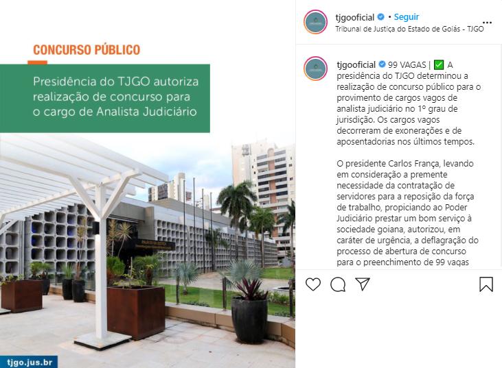 Anúncio da autorização do Concurso TJ GO Analista com 99 vagas