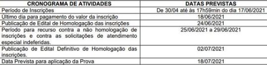 Cronograma Concurso MP RS