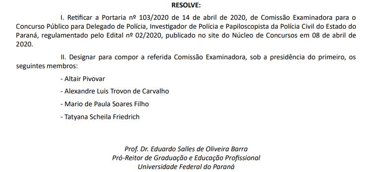Comissão examinadora concurso PC PR